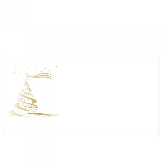 """Festlches Schmuckkuvert """"Golderner Weihnachtsbaum"""" mit edler Goldfolienprägung"""
