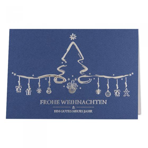 Schöne Weihnachtskarten mit luxuriöser Silberfolienprägung und weißem Einlegeblatt
