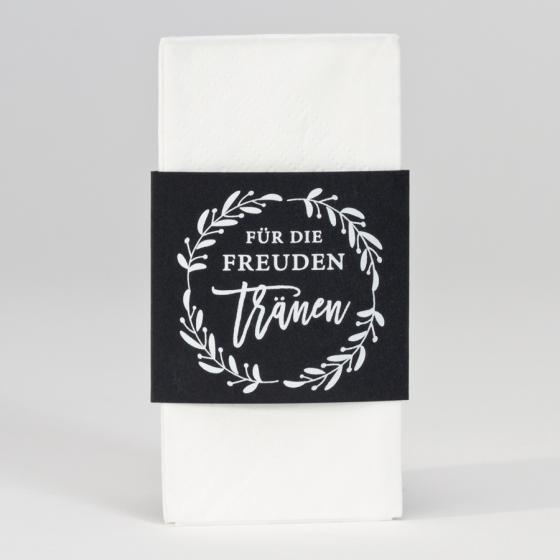 Schwarze Taschentuchhalter im modernen Vintage Stil.
