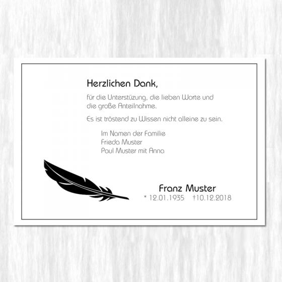 """Trauerdanksagungen """"Feder"""" im modenen Design"""