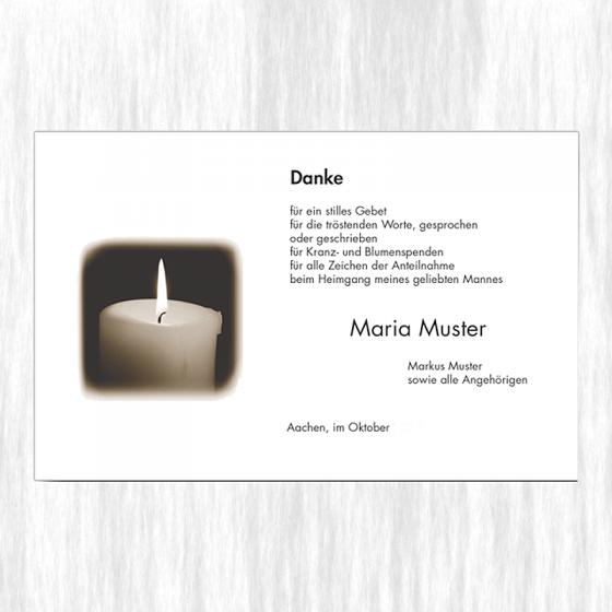 """Stimmungsvolle Trauerdanksagungen """"Kerze"""" auf  Premiumkarton"""