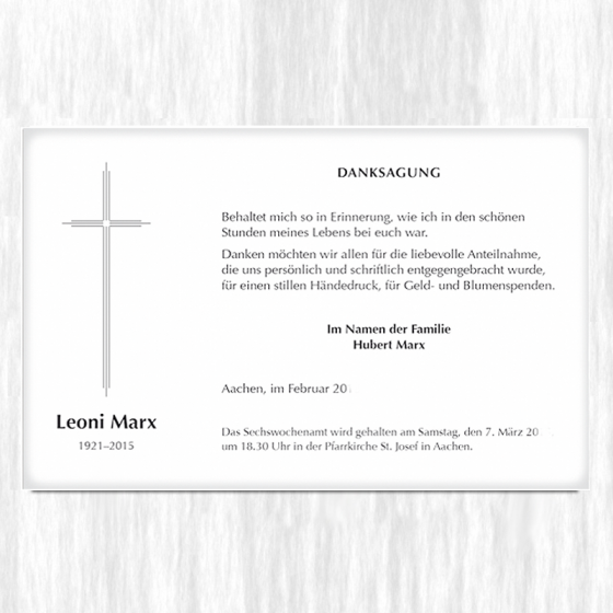 """Trauerdanksagungen """"Kreuz dreifach"""" auf Premiumkarton"""