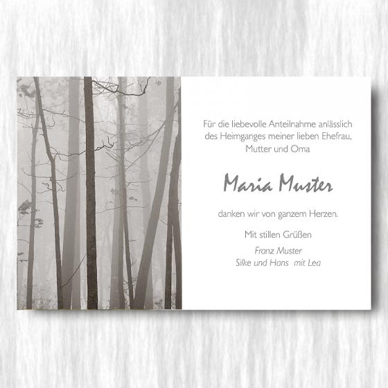 """Trauerdanksagungen """"Wald"""" im modernen Design"""