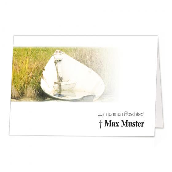 """Stimmungsvolle Trauerkarten """"Boot"""" im modernen Design"""