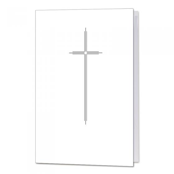 """Trauerkarten """"Kreuz dreifach""""  auf weißem Premiumkarton"""