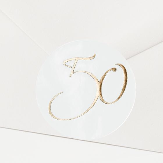 """Verschlusssiegel & Briefsiegel """"goldene 50"""" mit festlicher Goldfolienprägung"""