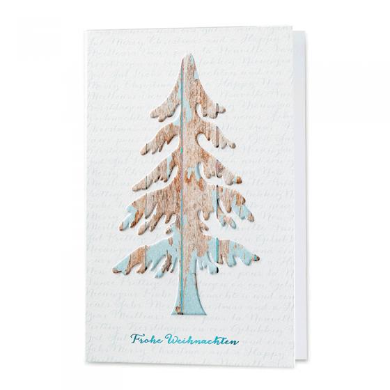 """Weihnachtskarten """"Landlust"""" aus hochwertigem Aquarellkarton mit Tannenbaum als Relief in Holzoptik im Vintage-Stil und glänzender Folienprägung in Türkis"""