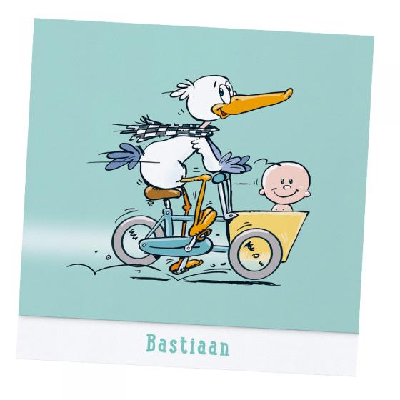 """Witzige Babykarten """"Storch"""" auf schimmerndem Metallickarton"""